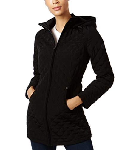 Coat Quilted Laundry (Laundry Hooded Zip Front Quilted Coat Black Small)