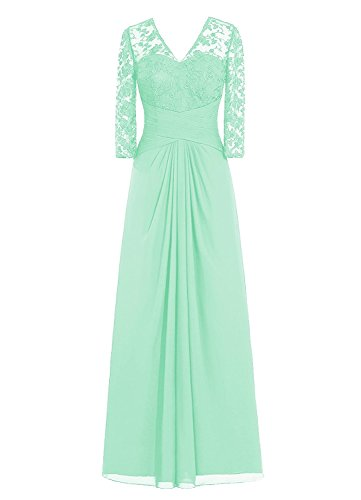 Long Chiffon Lace Sequined Mother of the Bride Prom Dress V Neck with 3/4 Sleeve Mint green 6