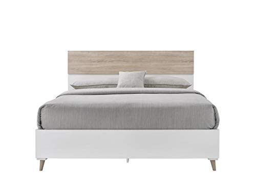 89c87946e5 Timber Art Design Pulford King Size Bed with Headboard in Sonoma Oak Wood  Effect & White