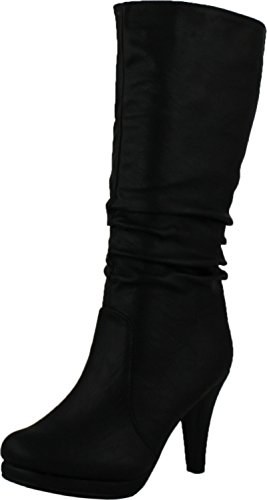 Top Moda Womens Page-43 Mid Calf Round Toe Slouched High Heel Boots, Black 8.5