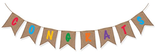 Sterling James Co. Congrats Burlap Banner - Congratulations Party Supplies - Baby Birthday Graduation -