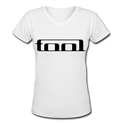 YH Alternative Rock Band Tool Logo V Neck T Shirt For Women White L