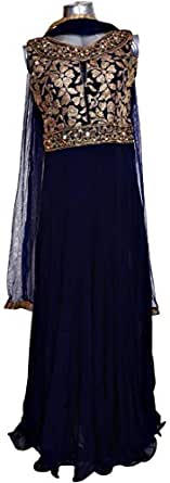 Silhoutte Blue Festive Anarkali Set For Women