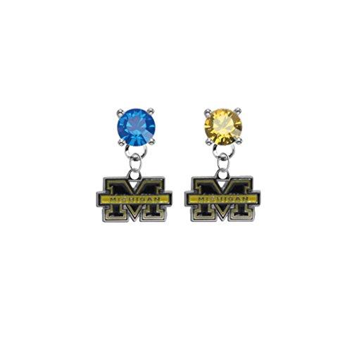 Michigan Wolverines Blue & Gold Crystal Stud Post Dangle Earrings