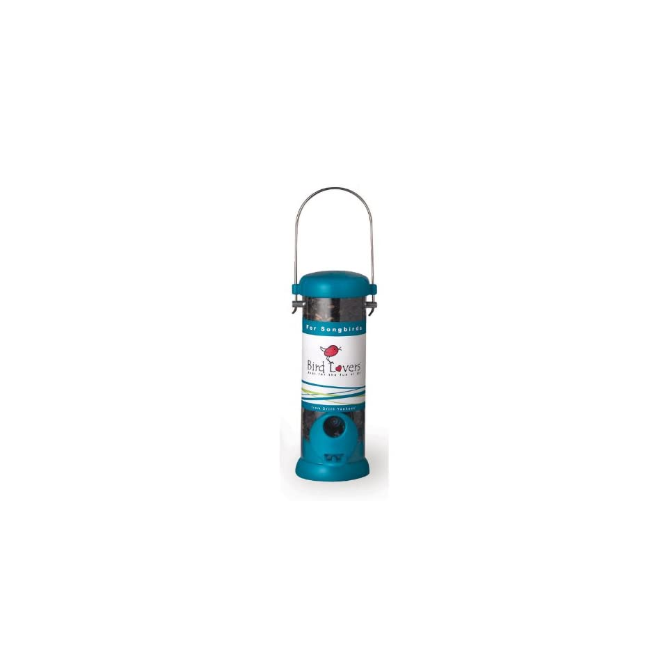 Droll Yankees BL8S Bird Lovers 8 Inch Sunflower/Mixed Seed Feeder with Aqua Blue Accents