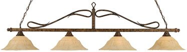(Bronze Finish 4 Light Wrought Iron Rope Bar w Italian Marble Glass)