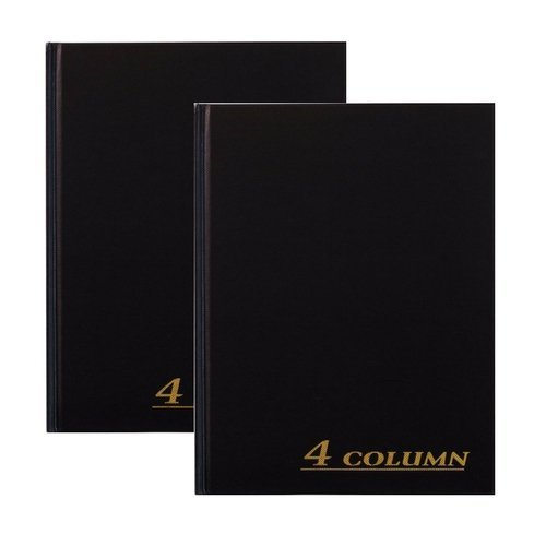 Adams Account Book, 4-Column, Black Cloth Cover, 9.25 x 7 Inches, 80 Pages Per Book (ARB8004M) (2 Pack) by Adams