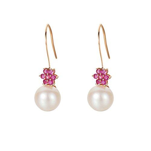 Epinki 18K Gold Earrings for Women Girls Flower Natural Freshwater Pearl Earrings Pink Tourmaline by Epinki
