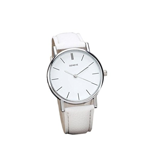 Tenworld Womens Girls Faux Leather Band Analog Alloy Quartz Wrist Watch (White) (50s Makeup And Hair)