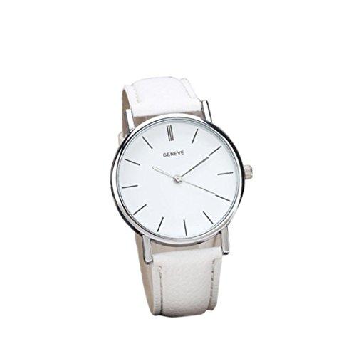 Tenworld Womens Girls Faux Leather Band Analog Alloy Quartz Wrist Watch (White)