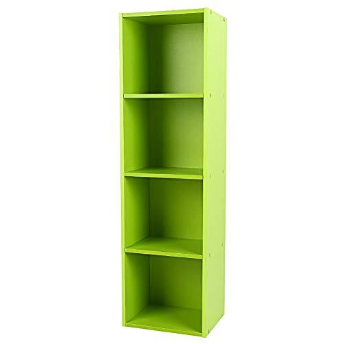 Yosoo Wood Display Shelf Storage Bookshelf 3/4 Tier Bookcase Stand Rack Cube Unit (4 Cubes, -