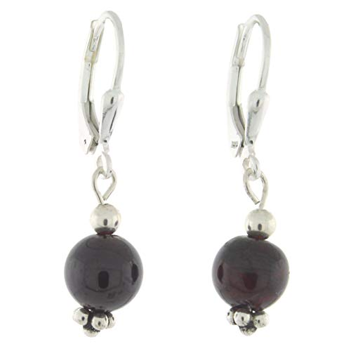 Black Onyx Bead Earrings - Sterling Silver 8mm Gemstone Bead Lever Back Bottom Dot Flower Earrings, Black Onyx