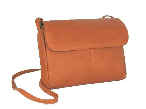 Small Flap Front Shoulder Bag Color: Tan (David King Small Flap)