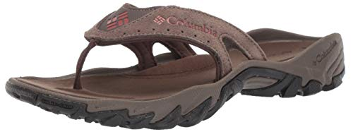 Columbia Men's SANTIAM FLIP Sport Sandal, mud, Rusty, 15 Regular US
