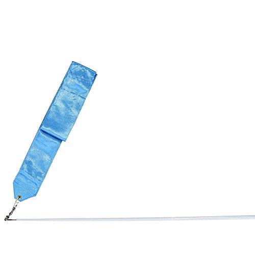 Danzcue Dance Satin Worship Gym Rhythmic Art Ballet Streamer with Twirling Rod, Light Blue, 12 Feet by Danzcue