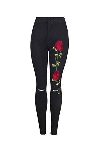 Largos Plus Las Rasgado Denim Jeans Size Black Skinny Floral Pantalones Mujeres 88qRw0n1