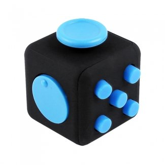 TEKYA Universal Fidget Cube Black With Blue Buttons