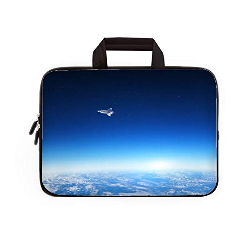 - Double Zipper Laptop Bag,Earth and Space Shuttle,14 inch Canvas Waterproof Laptop Shoulder Bag Compatible with 14