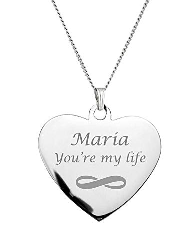 - Engraved Silver Stainless Steel Heart Necklace Pendant