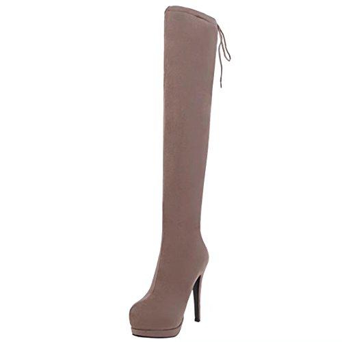 AIYOUMEI Damen Stretch Overknee Stiefel mit Plateau und 13 cm Absatz Stiletto High Heels Langschaft Stiefel Aprikose