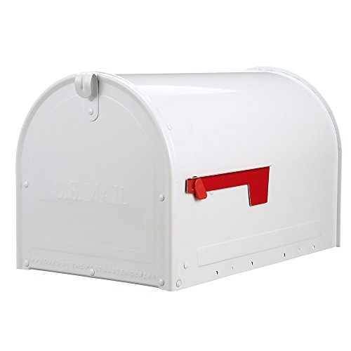 Gibraltar Mailboxes MLM16KW1 Marshall Locking Post Mount Mailbox, Large, White
