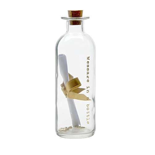 Botella de cristal con grabado «Message in a bottle» en dorado. Escribe un