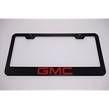 Amazon.com: GMC Black Metal License Plate Frame with Caps: Automotive