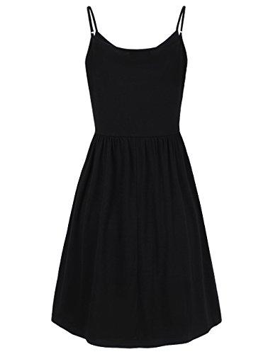 Chiffon Hem Tunic Camisole Women's Adjustable Spaghetti Strap Dress Black HNNATTA ZwxPISHqc