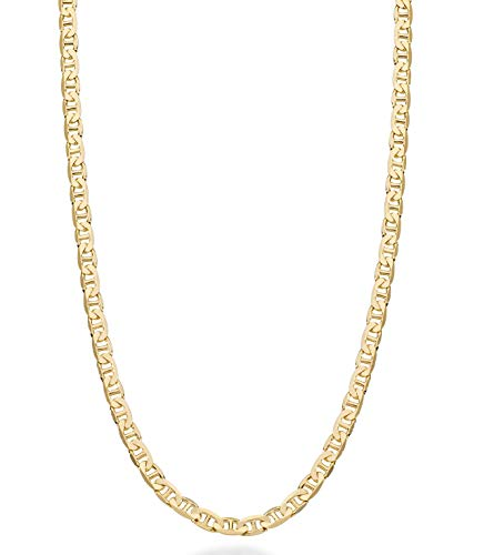 MiaBella Solid 18K Gold Over Sterling Silver Italian 3mm Diamond-Cut Flat Mariner Link Chain Necklace for Women Men, 16-30 Inch 925 Italy ()