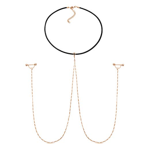 FECTAS Nipple Barbell Rings with Chain and Choker Necklace Nipple Ring Breast Piercing Jewelry 14G ()