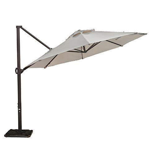 Abba Patio 11 Ft Offset Patio Umbrella with Crank Lift and Tilt and Cross Base, 11', Beige (Pavers Round Patio)