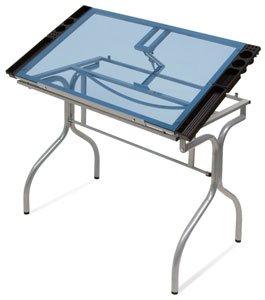 Studio Designs 13220 Folding Craft Station, Silver/Blue Glass by Studio Designs