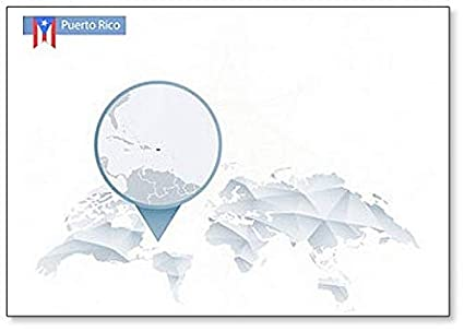 Amazon.com: Abstract Rounded World Map With Puerto Rico Map ...