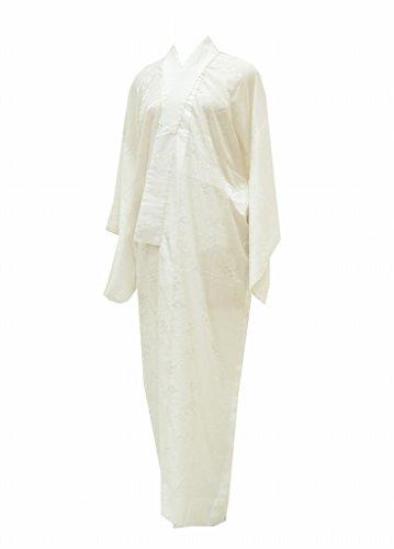 (着物ひととき) 長襦袢 中古 リサイクル 女性 化繊 洗える 白 松皮菱に花文様 裄64.5cm ながじゅばん 白系 裄Mサイズ ll1708b