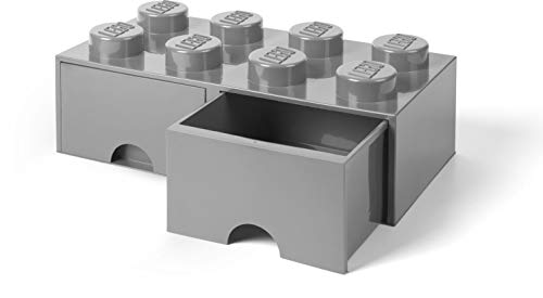 LEGO Brick Drawer, 8 Knobs, 2 Drawers, Stackable Storage Box, Medium Stone Grey (Lego Storage Containers Grey)