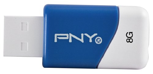 PNY Compact Attaché 8GB USB 2.0 Flash Drive (Blue) Model P-FD8GBCOMB-GE