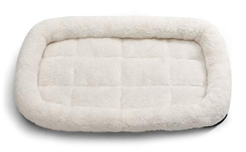Soft Sided Pet Carrier Travel Bed, Large (Washable Fleece, Cream White)