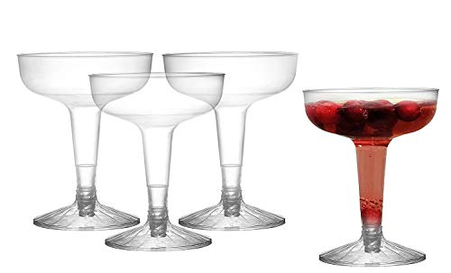 Plastic Hollow-Stem Champagne Glasses / Martini Toasting Glasses | Perfect for Cocktail party Cups | Bulk Pack 100 -