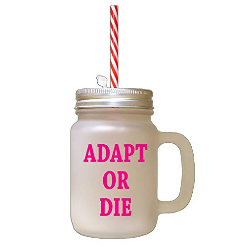 Hot Pink Adapt Or Die Frosted Glass Mason Jar With Straw
