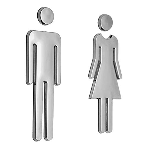 Wall Mirror - Man Woman Wc Decals Toilet Signs Restroom Washroom Signage Plaque Wall Mirror Surface Stickers - Door Sign Arrow Toilet Wall Metal Tile Brass Bathroom Nautical Small Mirror Si Brass Metal Sign Letter