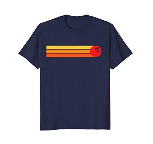 Mens Retro Vintage Bowling T-Shirt Medium Navy