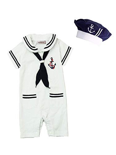 stylesilove Baby Boy Marine Sailor Costume Short Sleeve Romper Onesie with Hat 2 pcs Set (White, 95/18-24 Months)]()