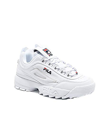 Fila White Shoes - Fila Mens Disruptor II Premium White Navy RED Size 7