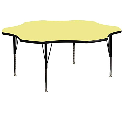Flash Furniture XU-A60-FLR-YEL-T-P-GG Flower Shaped Activity Table with Yellow Thermal Fused Laminate Top and Height Adjustable Pre-School Legs