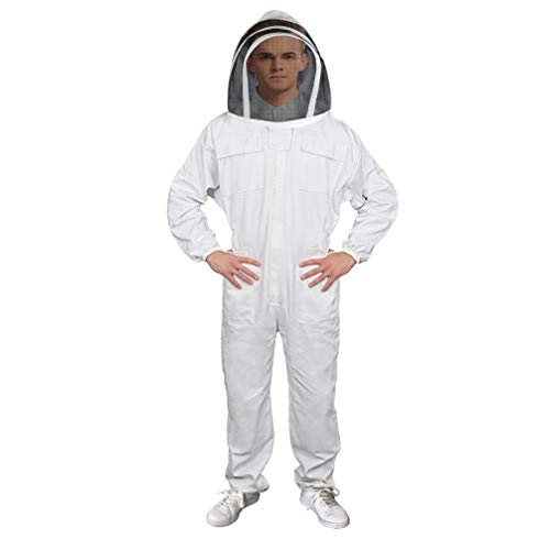 (Luwint Adult Full Body Ventilated Beekeeping Suits - Cotton Bee Beekeeper Suit with Self Supporting for Men Women)