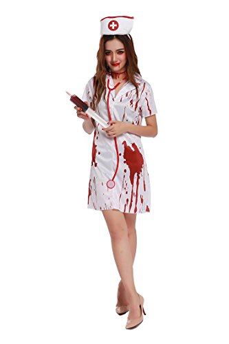 [Honeystore Women's Bloody Zombie Nurse Halloween Costume Party Dress up] (Sexiest Plus Size Costumes)