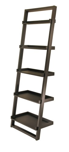 Winsome Wood Bailey Leaning 5-Tier Shelving Unit, Black