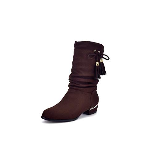 Coffee 4-4.5 US Coffee 4-4.5 US Women's Fashion Boots PU(Polyurethane) Fall & Winter Boots Low Heel Mid-Calf Boots Coffee Red Burgundy