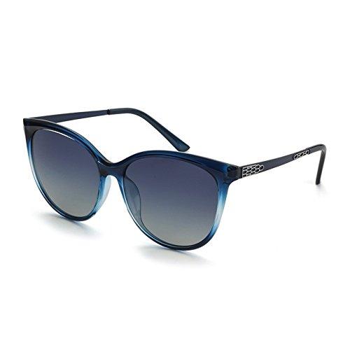 Rojo de de Gafas de Moda de Mujer Gafas el Gato Sol Sunglasses la Bastidor polarizadas Femenina del Ronda de TL Posterior Sol Gran Parte Ojo Gafas Blue YwX7xRUnq4