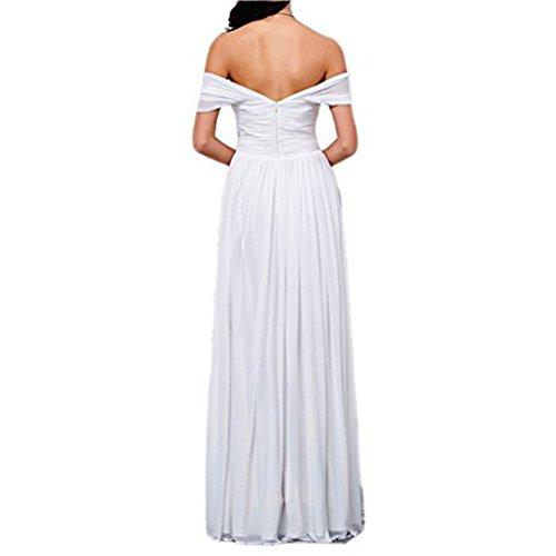 Amore Femmes De Mariée En Mousseline De Soie De Robe De Demoiselle D'honneur Épaule Rose Robe De Bal Longue